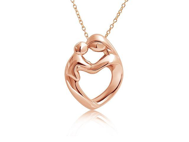 Mothers Day Gifts Rose Gold Plated 925 Silver Mother Child Family Heart Pendant 18in