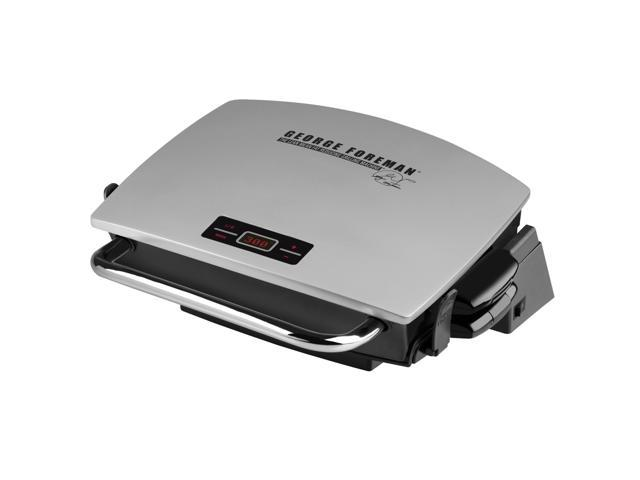 George Foreman Silver G-Broil Electric Nonstick Countertop Grill with Digital Timer