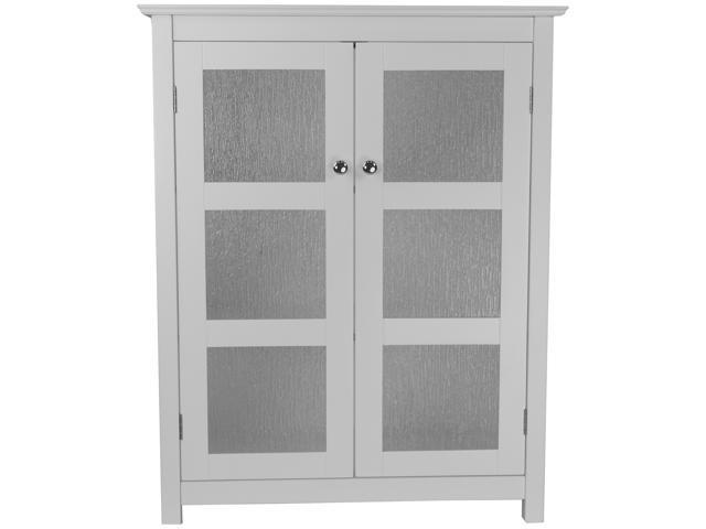 Highland White Double Glass Door Floor Cabinet