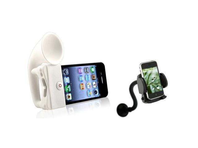 White Horn Stand Speaker/ Windshield Mount for Apple® iPhone 4/ 4S
