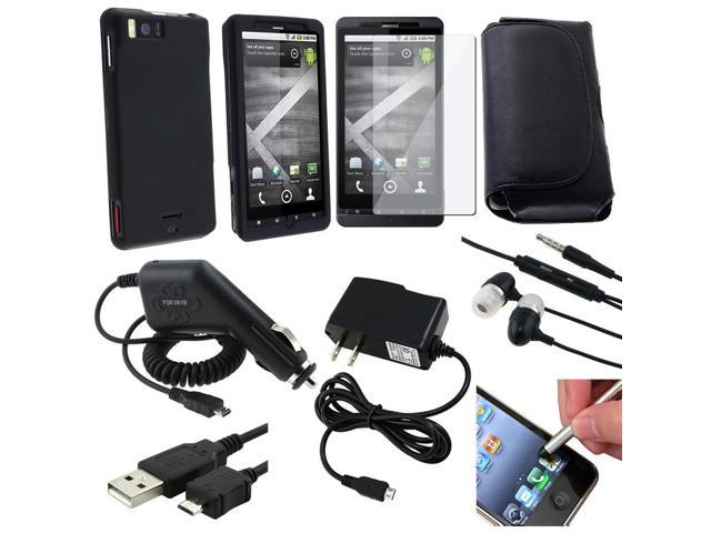 BasAcc Black Leather Pouch/ Rubberized Case/ Car Travel Charger/ Cable/ Headset/ Stylus for Motorola Droid X