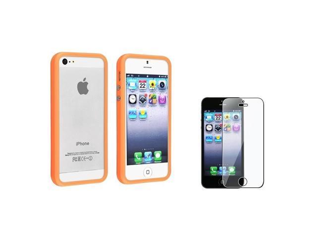 BasAcc Orange Bumper Case/ Screen Protector for Apple iPhone 5/ 5S