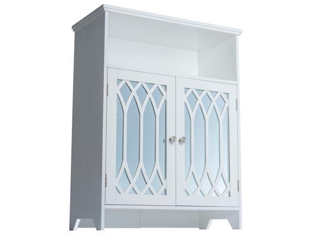 Kathy White 2-door Floor Cabinet with Mirror