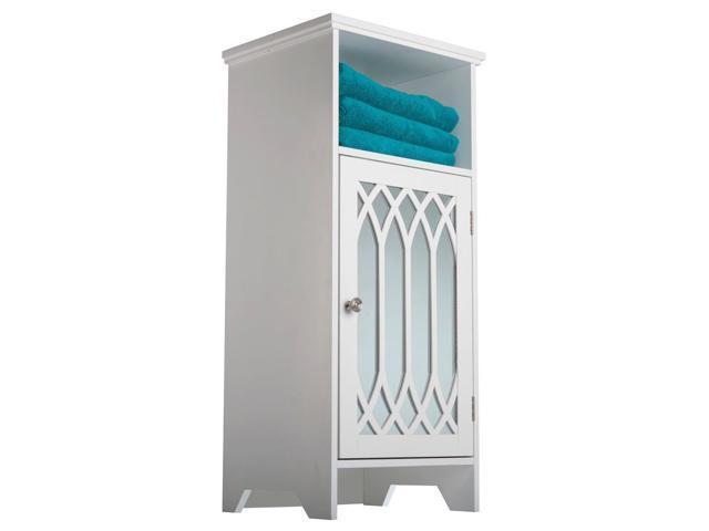 Kathy White 1-door Mirror Floor Cabinet with Open Shelf