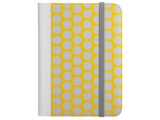 RadioShack Universal Tablet iPad Folio Case - Yellow with Grey Polka Dots