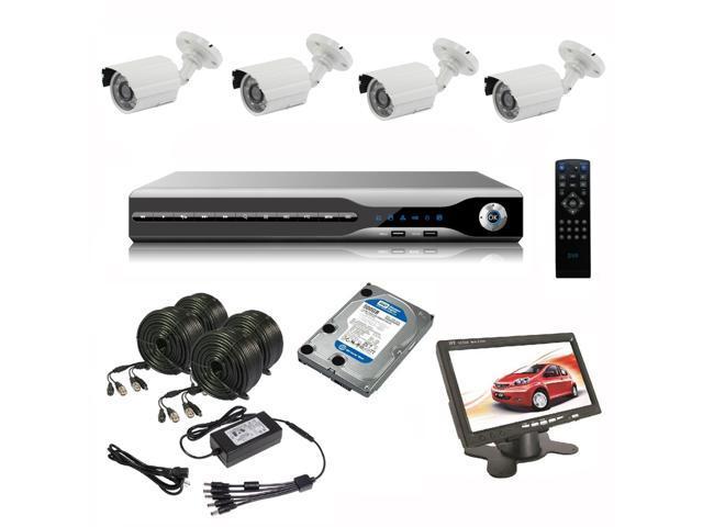 CCTV DIY System Kit DVR H.264 500GB HDD 4x SONY 1/3 Effio-E 700TVL 3.6mm Outdoor Cameras with FREE 7 inch CCTV mini monitor
