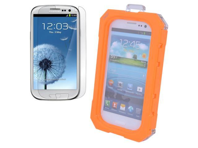 Orange Waterproof Case Dirtproof Snowproof Shockproof Cover Guard + Screen Protector for Samsung Galaxy S3 SIII i9300