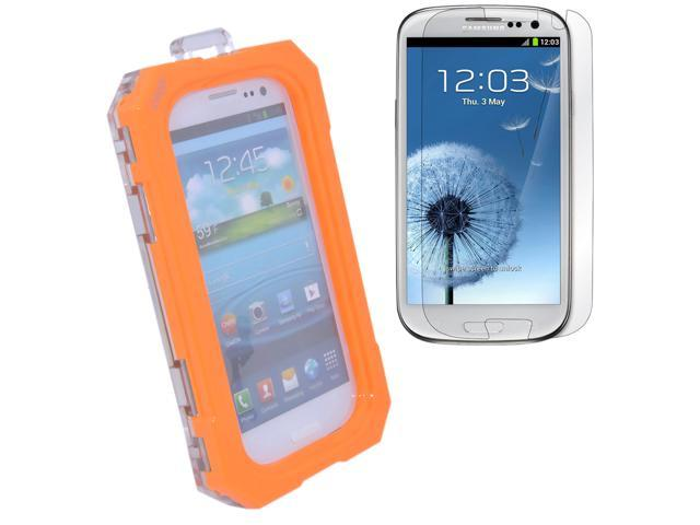 Waterproof Case Dirtproof Snowproof Shockproof Case Cover Skin + Clear Screen Protector for Samsung Galaxy S3 i9300 Orange