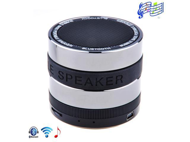 Black Wireless Mini Portable Super Bass Handsfree Rechargeable Metal Hifi Mic Speaker With USB SD TF Port Audio Port for iPhone 3Gs 4 4s 5 ...