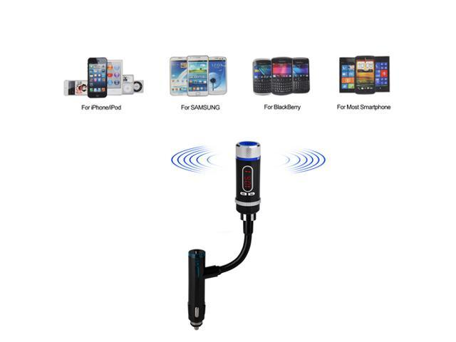 Wireless Bluetooth FM Transmitter Hands-Free with Car Charger Adapter Cigarette Lighter for Samsung Galaxy S4 S3 Note 3 2, Nexus 5 4, iPhone 5S ...