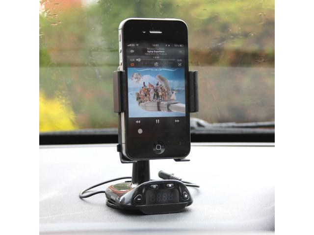 Car Smart Stand Holder FM Transmitter with Car Charger Handsfree Functions and Micro SD TF Card Reader & 3.5mm Audio Plug for Apple iPhone 5 ...