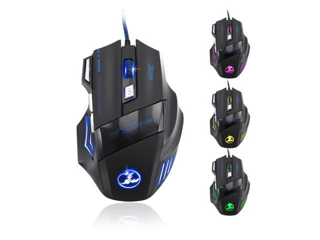 Black Professional Adjustable 1000/1600/2400/3200DPI USB Wired Gaming Game Mice Mouse with 6 Buttons, 4 Colors of LED Light for Win 7 XP Vista ME ...