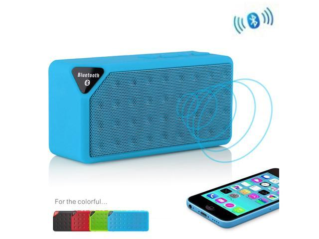 Blue Portable Wireless Bluetooth A2DP Stereo Speaker Handsfree Speakers Support TF/USB with Mic For Apple iPhone 4S 5 5S 5G 5C iPad 2 3 4 ...