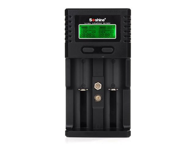 Universal H2 LCD Display Rapid Wall Car USB Battery Charger for Rechargeable Batteries, 3.7V Li-ion Battery, 3.2 V Li-ion LiFePO4 Battery, 1.2 ...