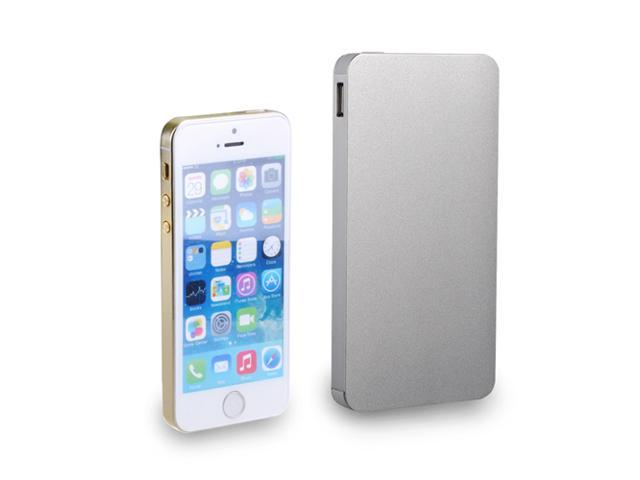 Silver Portable 10000mAh Aluminum Dual USB Power Bank Battery Charger with 4 Connectors For Apple iPhone 5S 5C 5 4S iPad Mini Air Samsung Galaxy ...