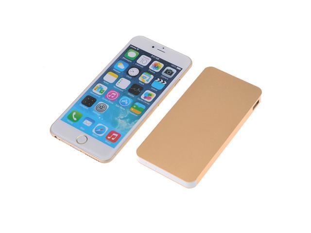 Golden Portable 10000mAh Aluminum Dual USB Power Bank Battery Charger with 4 Connectors For Apple iPhone 5S 5C 5 4S iPad Mini Air Samsung Galaxy ...