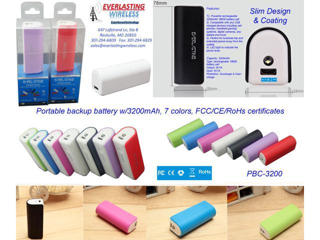 3200mAh portable power bank black - PBC-3200-WH