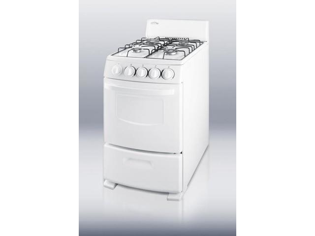 Summit R200W: White Pearl gas range with electronic ignition and sealed burners in slim 20