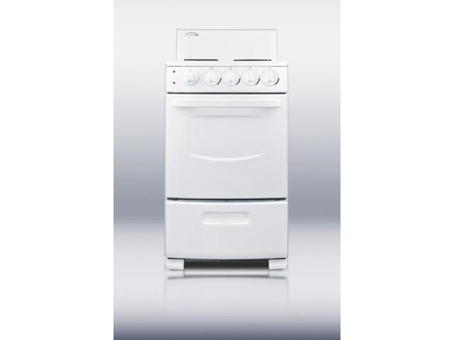 Summit RE20W: White Pearl electric range in slim 20