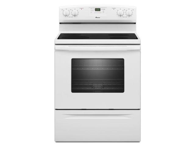 Amana AER5630BAW: 4.8 cu. ft. Electric Range with Spillsaver ™ Ceramic-Glass Upswept Cooktop - white