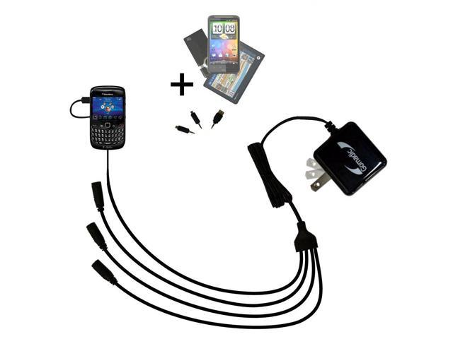 Quad output Wall Charger includes tip for the Blackberry Curve 8520