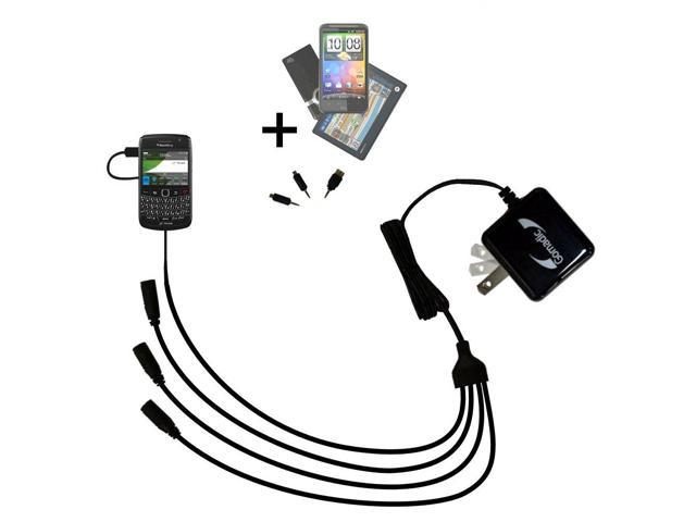Quad output Wall Charger includes tip for the Blackberry Onyx 9700