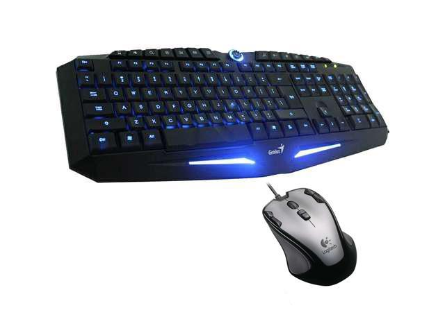 Genius K9 USB LED Illuminated Ergonomic Backlight Pro Gaming Game Keyboard + Logitech G300 2500 dpi 9 programmable Buttons Professional Optical Mouse