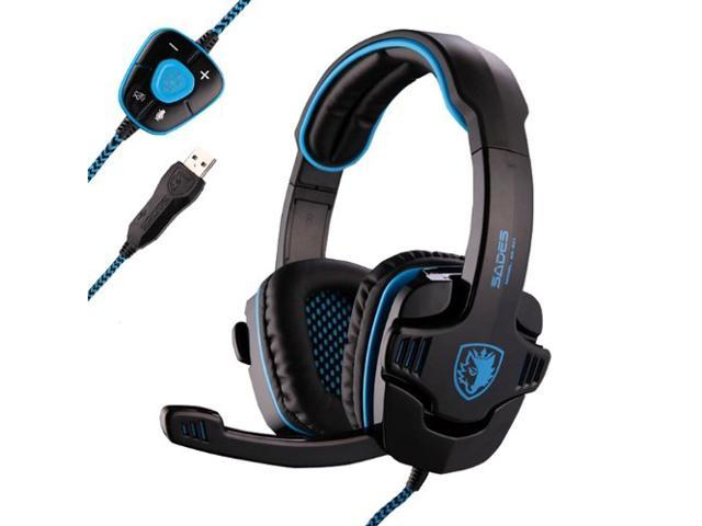 Sades Sa-901 Usb 7.1 Surround Sound Effect Over-ear Overear Game Gaming Headphone Headset with Mic and Remote for Pc Red