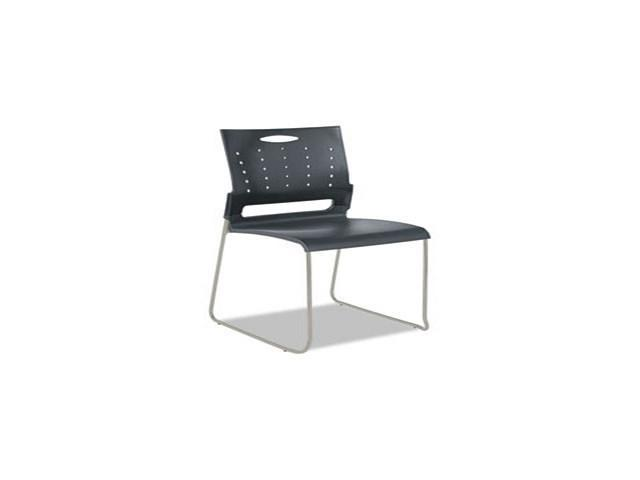 Continental Series Perforated Back Stacking Chairs, Charcoal Gray, 4/C