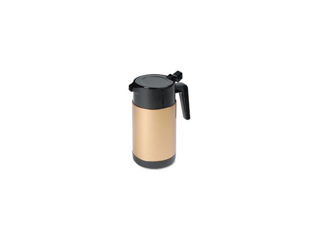 Poly Lined Carafe, Wide Mouth w/Snap-off Lid, 40 oz., Capacity, Black/Gold