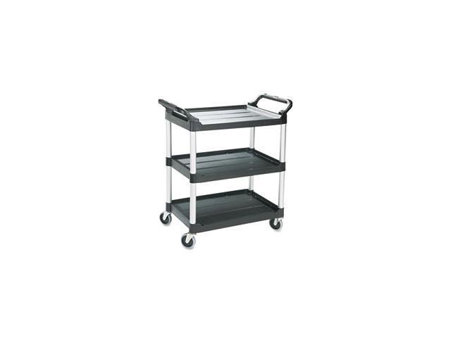 Economy Plastic Cart, 3-Shelf, 18-5/8w x 33-5/8d x 37-3/4h, Black