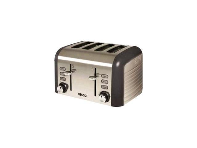NESCO T1600-13 GRAY 4 SLICE TOASTER WITH 1.5IN WIDE SLOTS BROWNING CONTROL