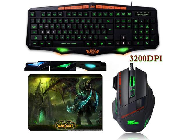 SUNT GK33 3 Colors LED Backlit Illuminated Waterproof Ergonomic Multimedia Gaming Keyboard + 3200DPI 8D 7 Buttons Optical Usb Gaming Mouse + WOW ...