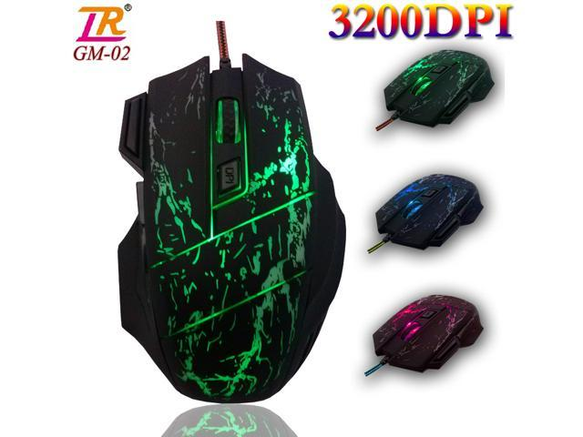 3200DPI LR GM-02 2nd Gen. 8D 7 Buttons X4 Optical Usb Gaming Mouse with 4 Colors LED