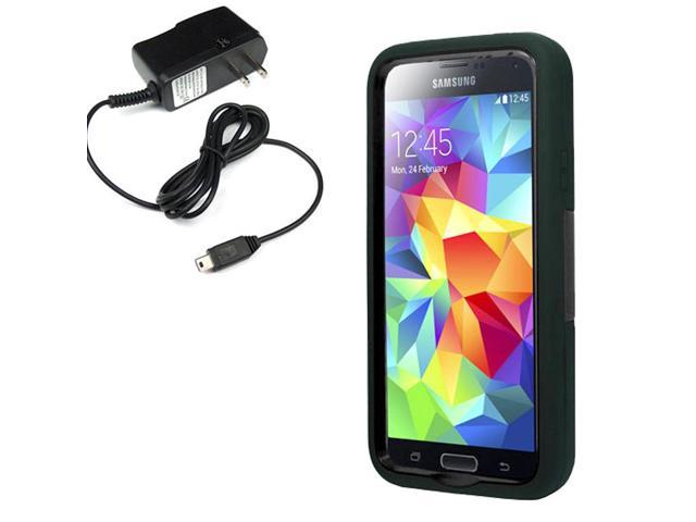 Robot Protector Hard Shell Stand Case Samsung Galaxy S 5 G900 Travel Charger
