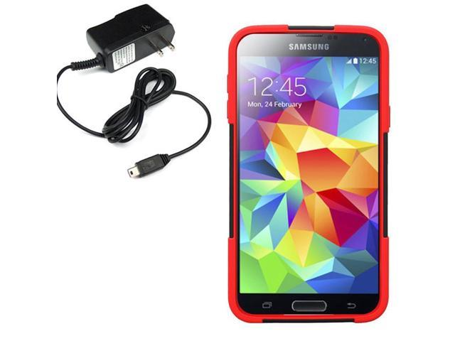Hybrid Protector Hard Shell Stand Case Fr Samsung Galaxy S 5 G900 Travel Charger