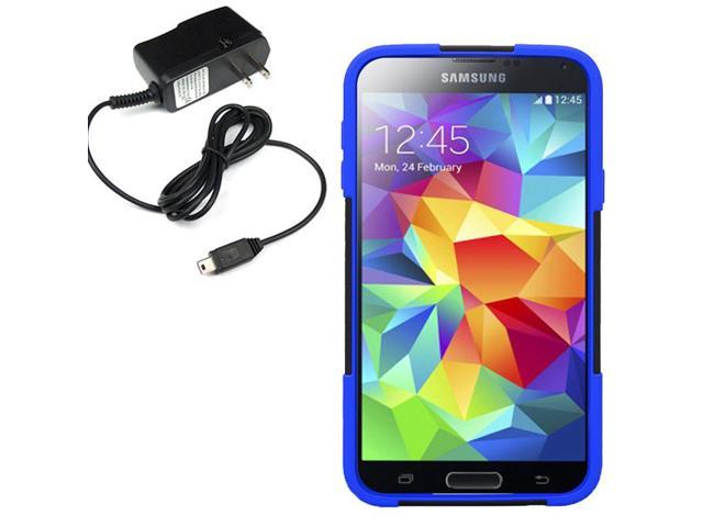 Hybrid Protector Hard Case AT&T Samsung Galaxy S 5 Active G870 Travel Charger