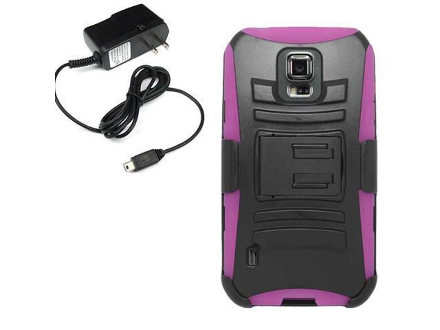 Hard Shell Holster Clip Combo Case Samsung Galaxy S5 Sport G860 Travel Charger