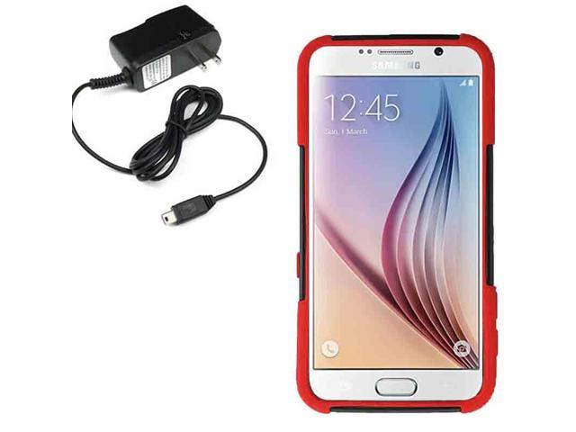 Hybrid Protector Hard Shield Cover Case Samsung Galaxy S 6 G925 Travel Charger