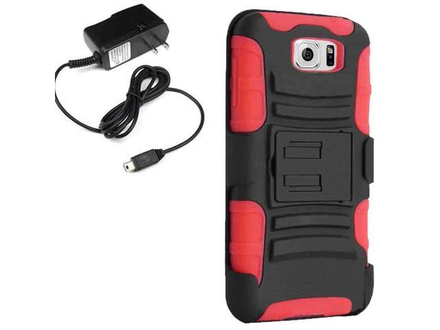 Armor Hard Holster Clip Combo Cover Case Samsung Galaxy S 6 G925 Travel Charger
