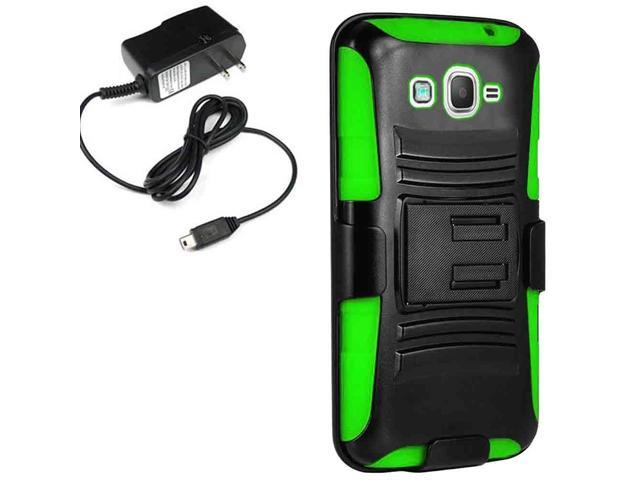 Armor Holster Combo Case Cricket Samsung Galaxy Grand Prime G530H Travel Charger