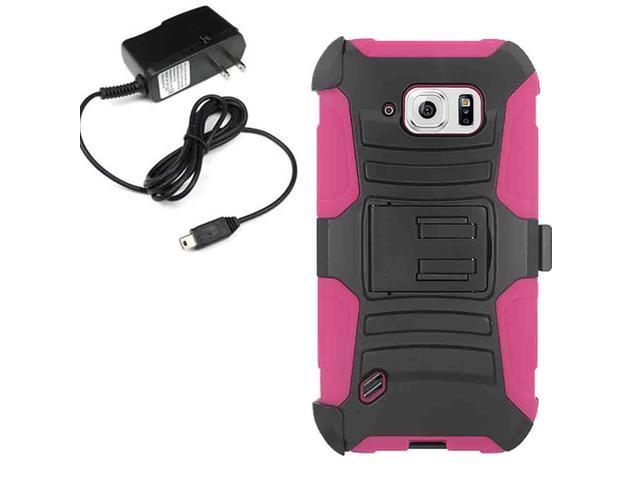 Armor Hard Holster Combo Case Samsung Galaxy S 6 Active G890 Travel Charger