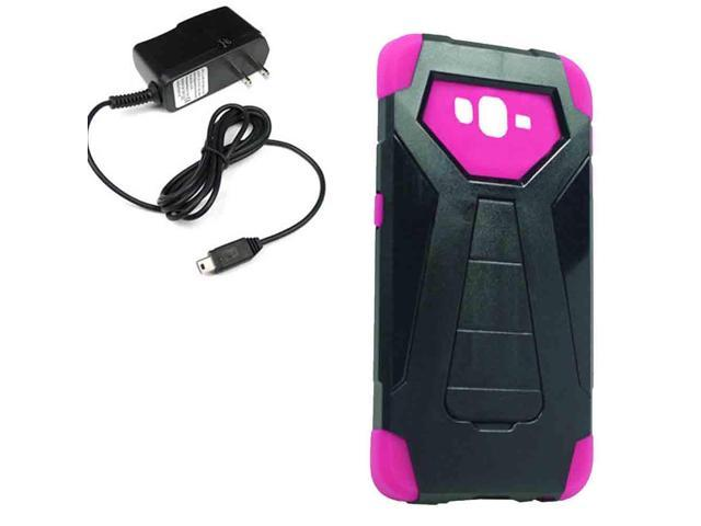 Stealth Hybrid Protector Cricket Samsung Galaxy Grand Prime G530H Travel Charger