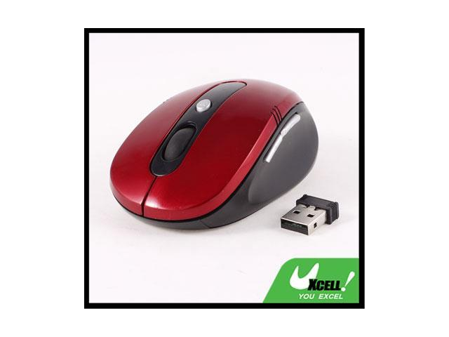 Red Black Plastic Housing 2.4G Wireless Optical Mouse + USB Receiver for Laptop