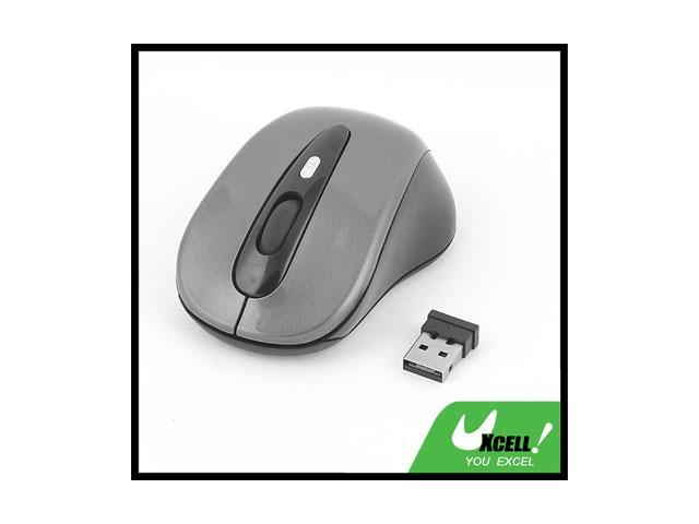 PC Computer 2.4G 4 Buttons USB2.0 Receiver Cordless Wireless Black Gray Mouse