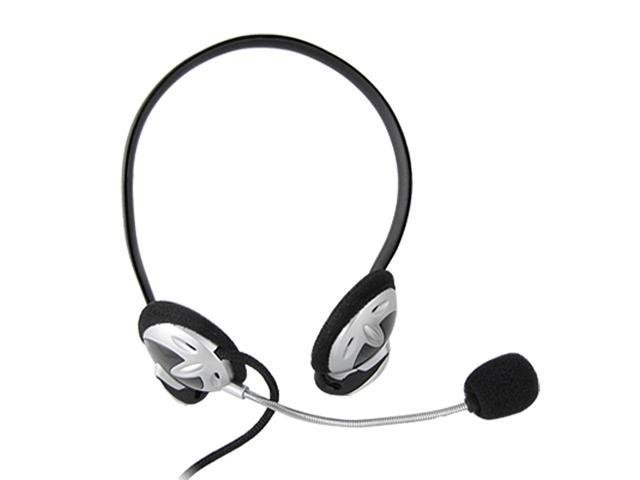 Black Silver Tone 3.5mm Adjustable Plastic Microphone Headset