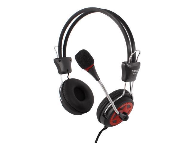 Black 5.4ft Cable 3.5mm Plug Headphone w Gooseneck Microphone for Laptop Desktop