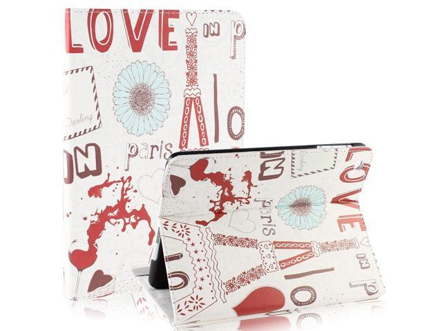 Red Heart Flower Off White Smart Wake/Sleep Stand Case Cover for Apple iPad Mini 1 2