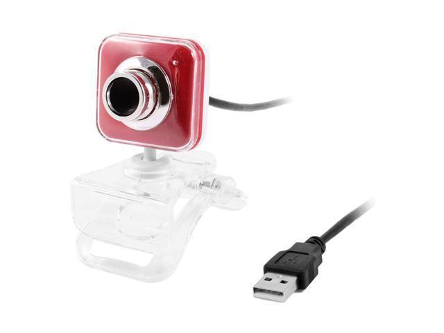 Clear Plastic Clip Red White Head USB Camera Webcam for Laptop Desktop PC