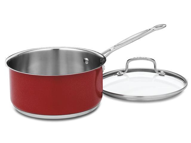Cuisinart CS44-24MR Chef's Classic Stainless 6-Quart Stockpot with Cover, Metallic Red